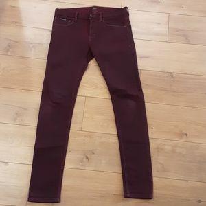Jacob Davis Raw Selvage Jeans, Wine Color, 32
